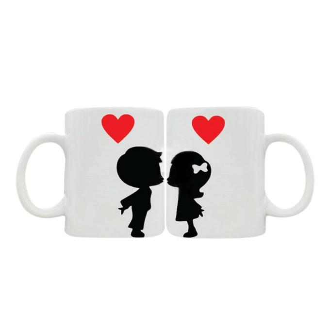 Ceramic Couple Mug - White