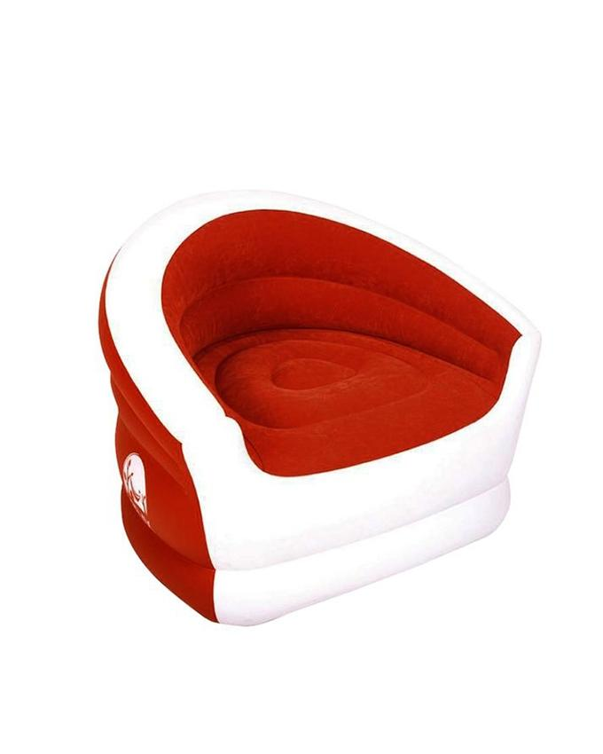 Inflatable Lazy Recliner Sofa - White And Red