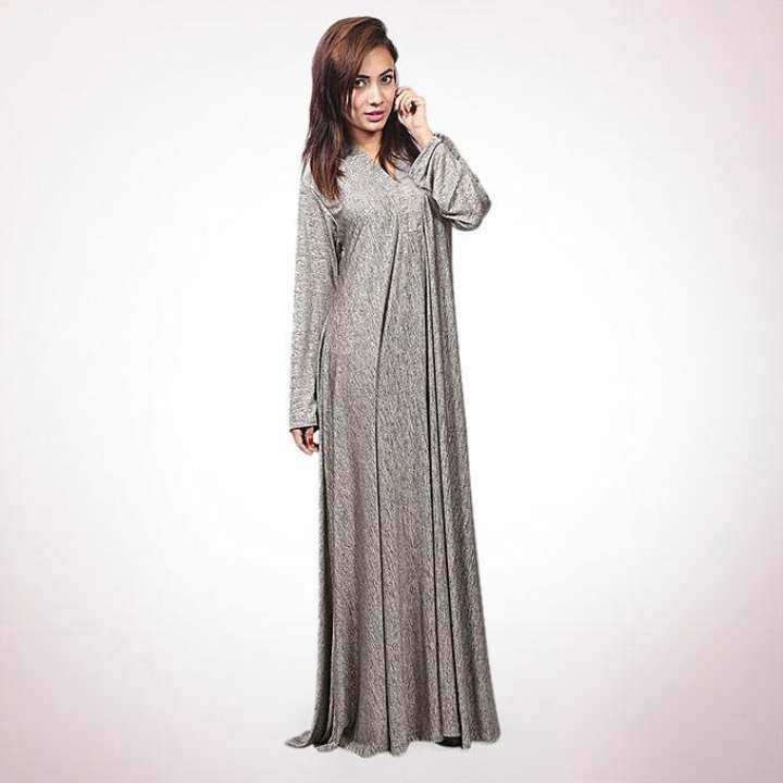 Ash And Gold Dust Cotton Knit Spandex Gown For Women