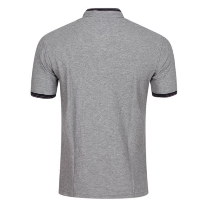 Gray Cotton Casual Polo For Men