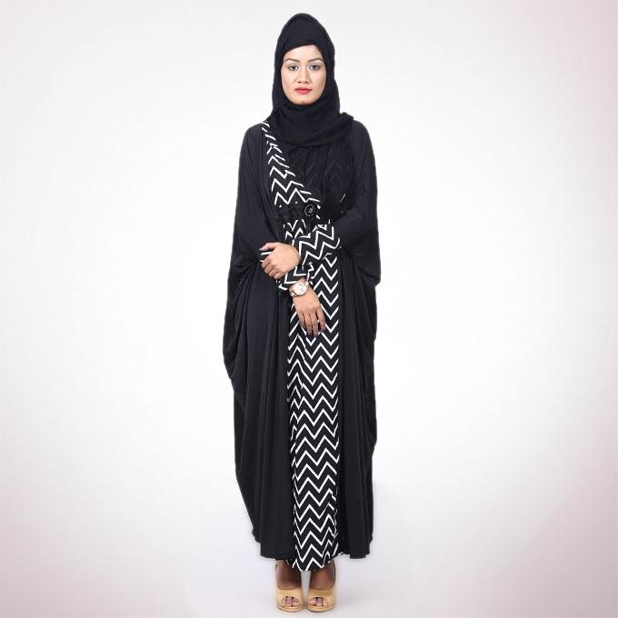 Black and White  Polyester Borka For Women