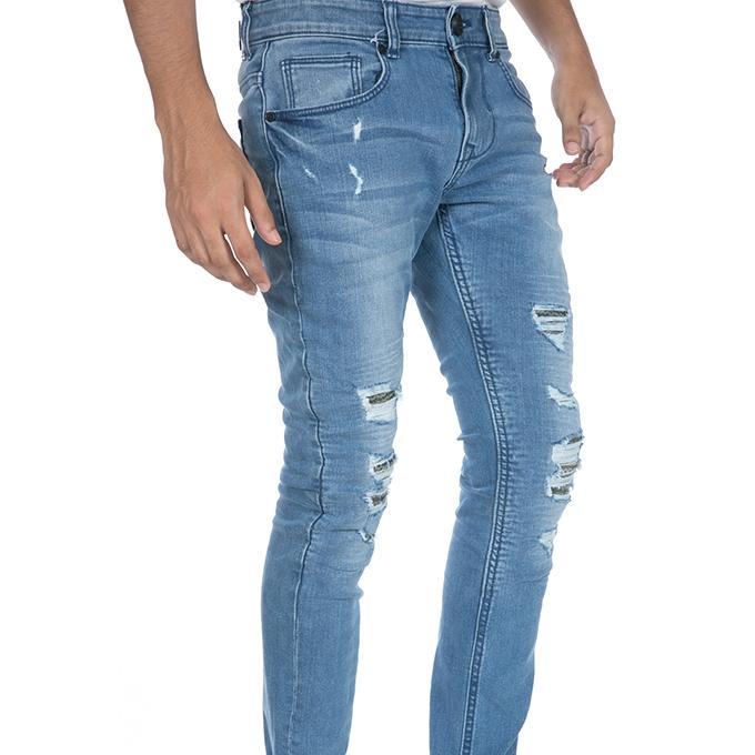 Tanjim Biker Ripped Light Blue Denim Jeans for Men