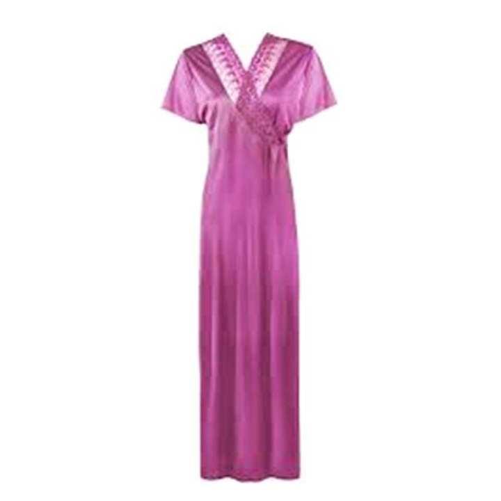 Medium Violet Red Sartin Indian Nightwear For Women