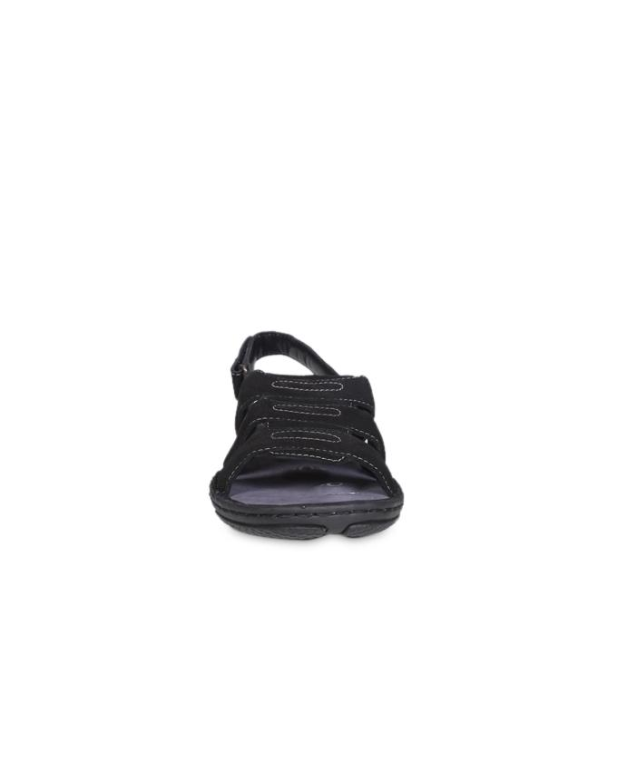 Dr.Mauch Black and Grey Swade Leather Casual Sandal for Men