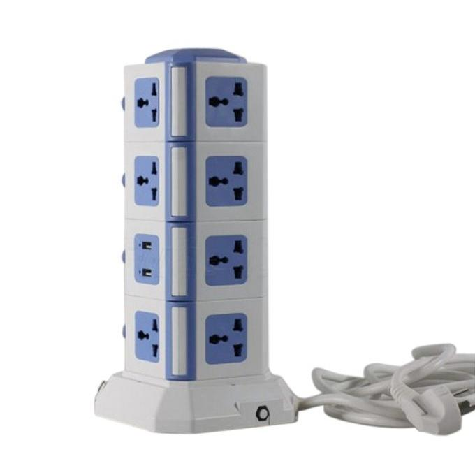 4-Level Multi-Plug Socket with USB Charger Point - White & Blue
