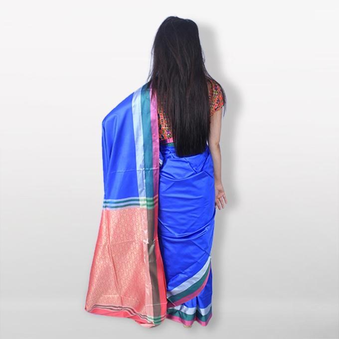 Blue Katan Saree For Women