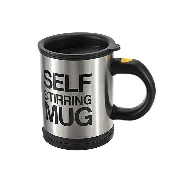 Self Stirring Mug - Black and Silver