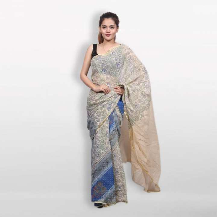 Cream and Blue Cotton Block Printed Saree for Women