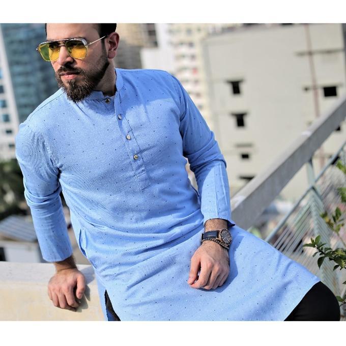 Sky Blue Cotton Short Panjabi for Men