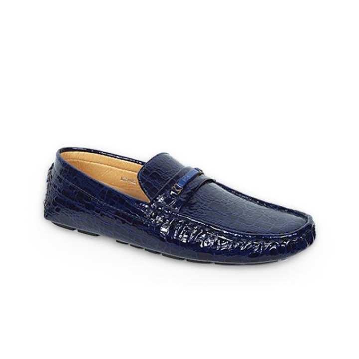Blue Genuine Leather Loafer for Men