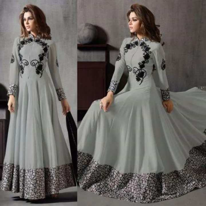 Unstitched Gray Georgette Gown