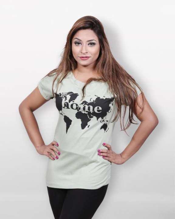 Cotton Casual Home Short Sleeve T-shirt - Light Cyan