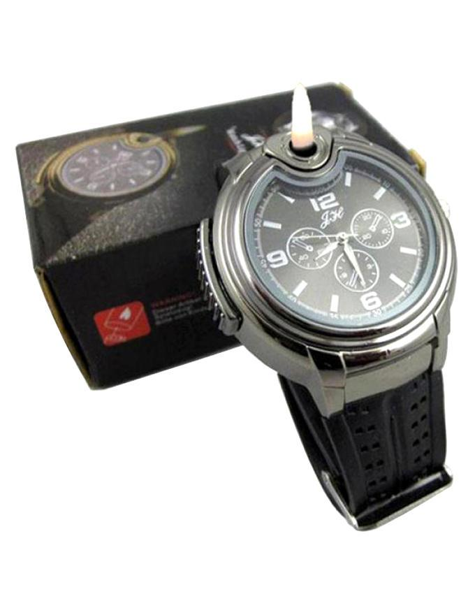 Watch With Cigarette Lighter - Black and Silver