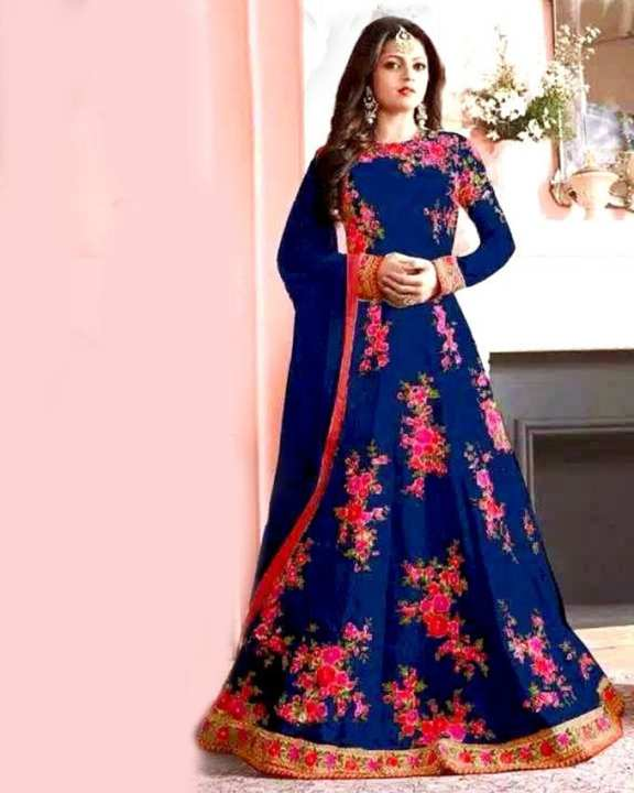 Georgette Casual Indian Party Dress For Women - Blue and Pink