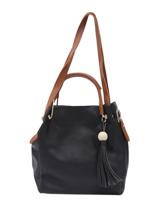PU Leather Hand Bag For Women - Black