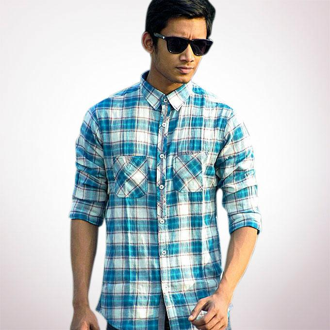 White and Blue Cotton Casual Full Sleeve Shirt For Men