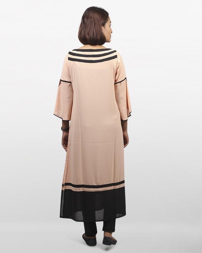 Peach Puff Synthetic Long Sleeve Zarzain Kurti For Women