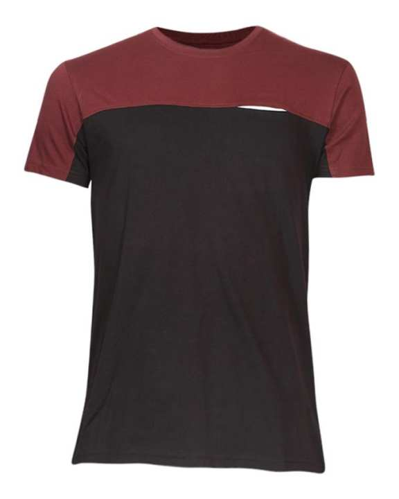 Cotton Casual Short Sleeves T-Shirt - Black and Brown
