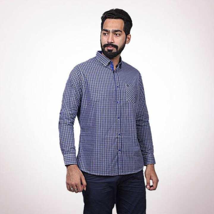 Blue Cotton Casual Shirt for Men