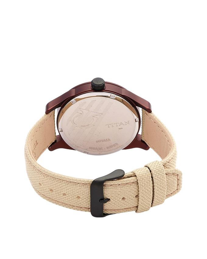 9479AF03J Leather Chronograph Watch For Men - Cream and Brown
