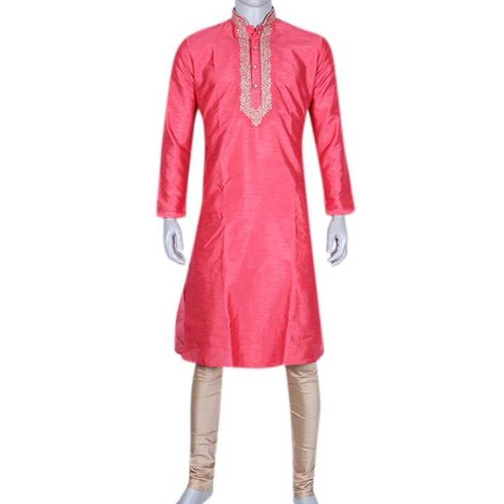 Silk Casual Panjabi For Men - Crimon