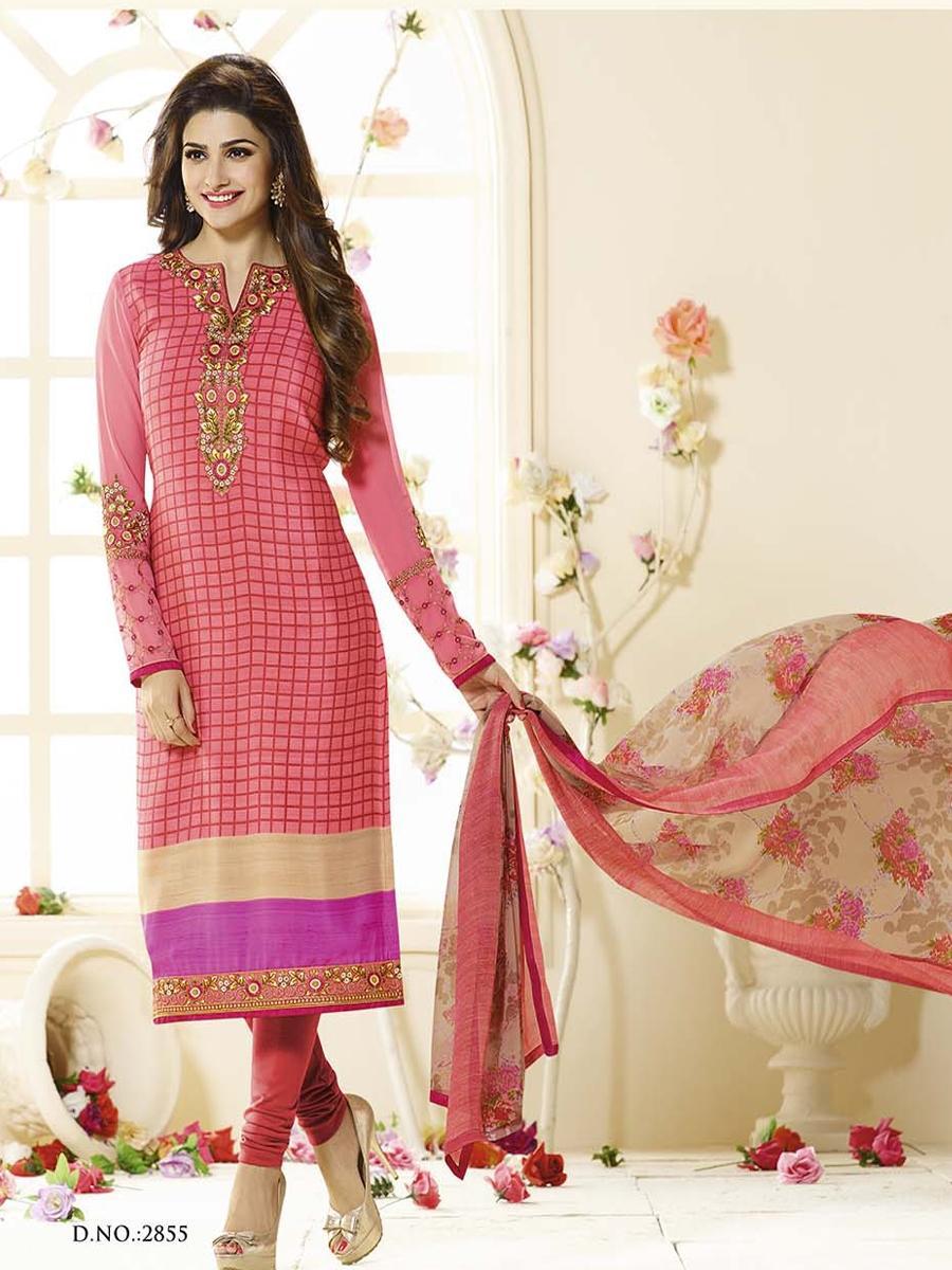 Salmon Silk Unstitched Shalwar Kameez For Women