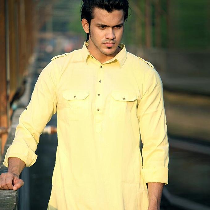 Yellow Cotton Casual Short Panjabi For Men