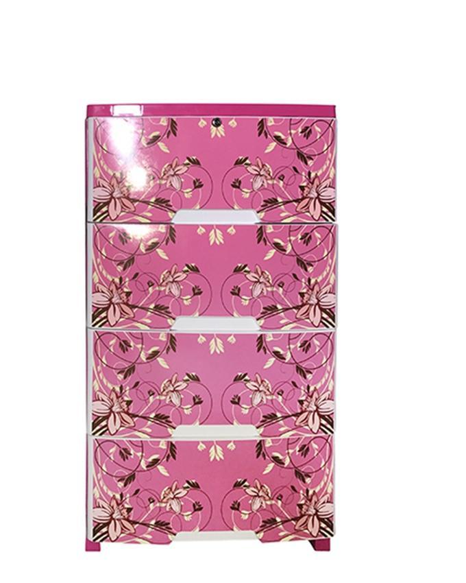 HPF03-01 Plastic Popular Wardrobe-4 Drawer Print - Pink