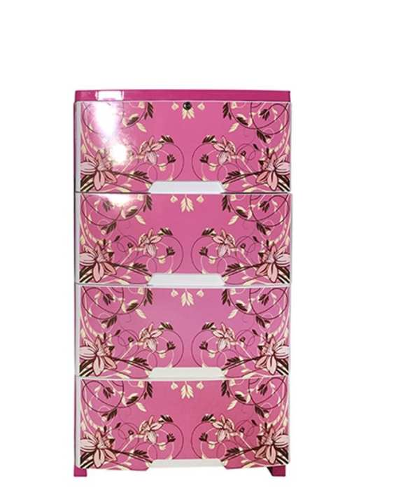 HPF03-01 Plastic Popular Wardrobe-4 Drawer Print - Pink