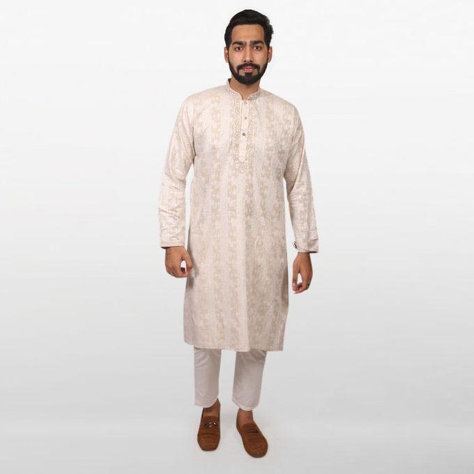 Light Cream Braso Cotton Panjabi for Men