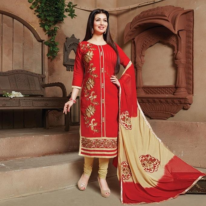 Red Cotton Un-stitched Block Printed Shalwar Kameez For Women