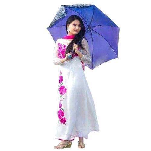 Off White Cotton Un-stitched Block Printed Salwar Kameez For Women