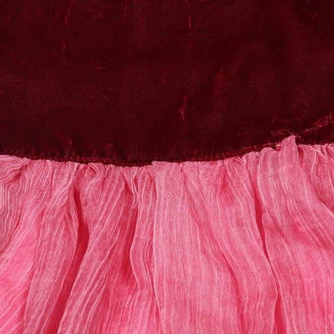 Pink and Dark Maroon Georgette Casual Dress For Girls