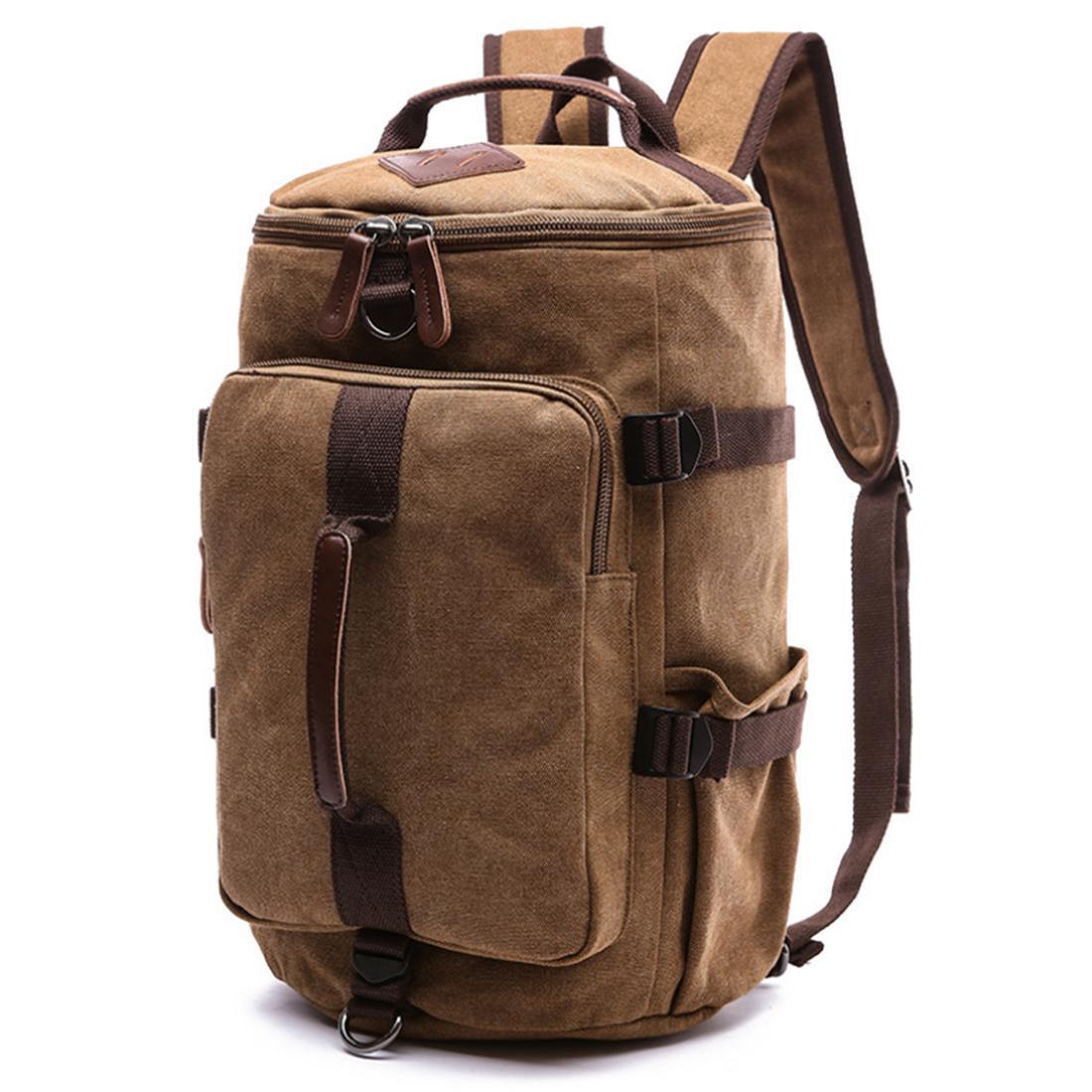 Fashion Big Capacity Canvas Handbag Travelling Single-shoulder Bag Round Backpack - Coffee S