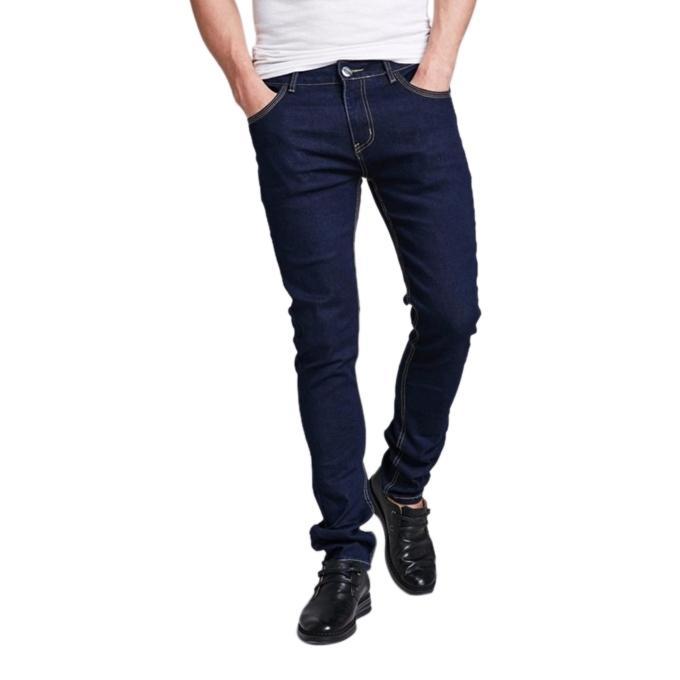 Navy Blue Denim Semi Narrow Jeans for Men
