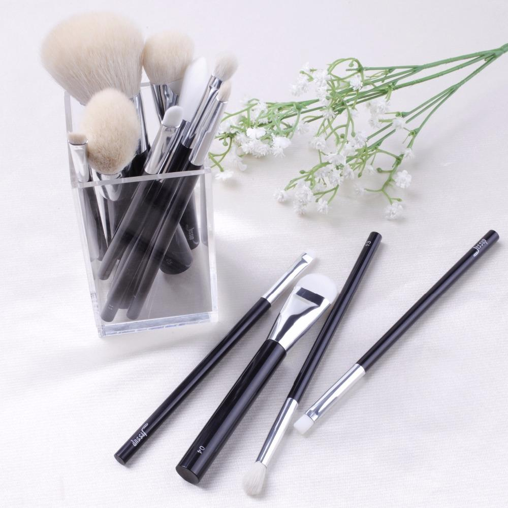 T110 12 PCs Acrylic Series Brush Set - Black and Silver
