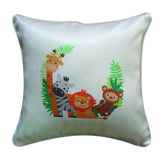 Cute Animal Set Printed Cushion Cover - Tan