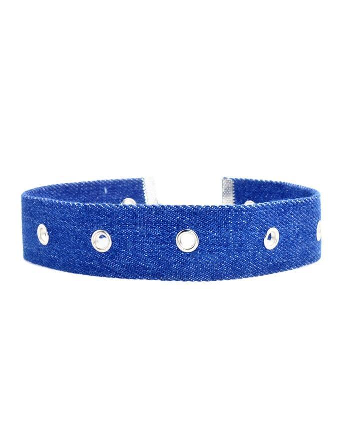 Blue Cotton Choker For Women