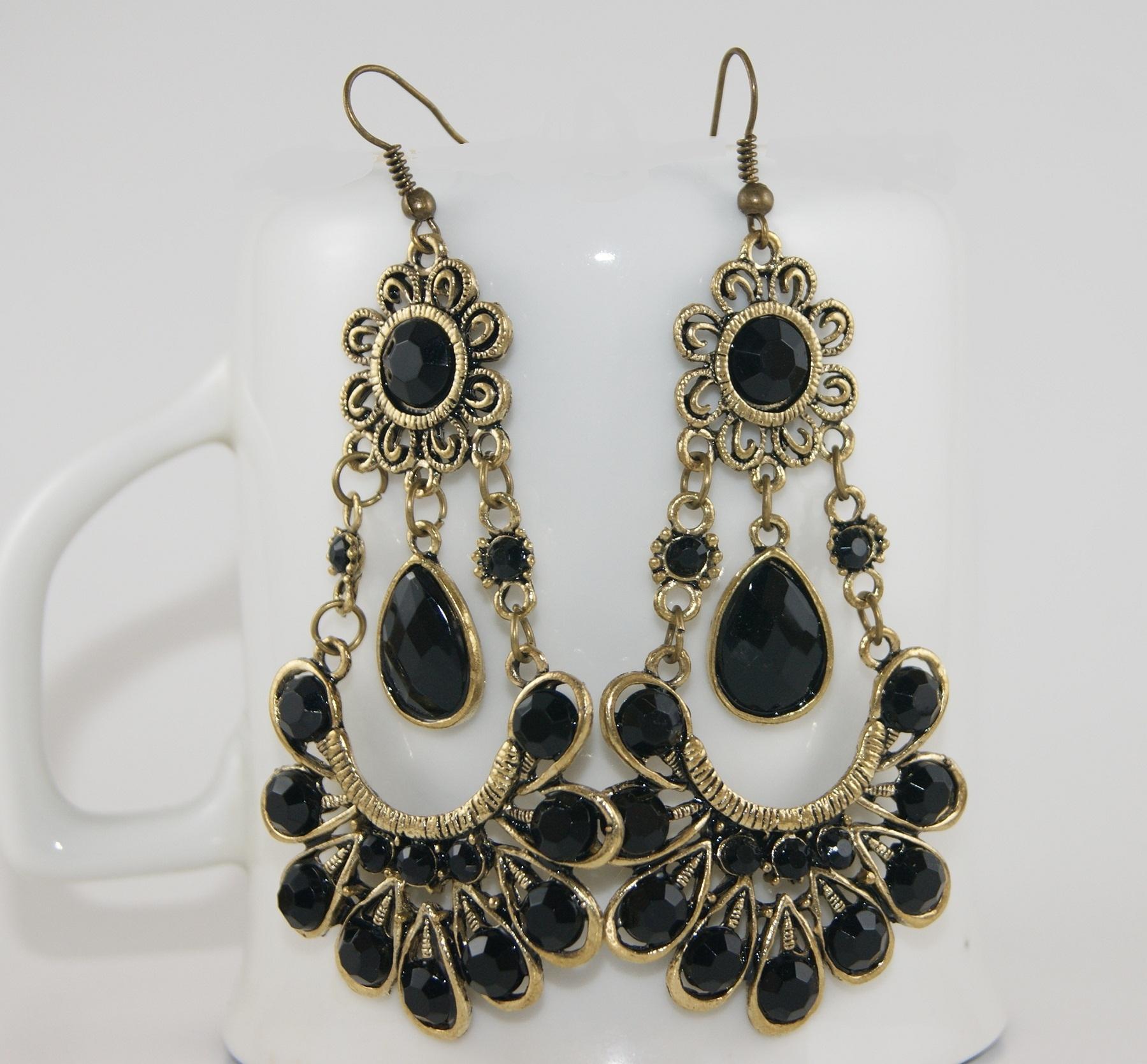 Bohemian Black Sunflower Earrings