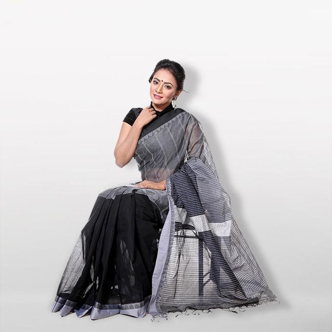 Black and Ash Cotton Stripe Saree for Women