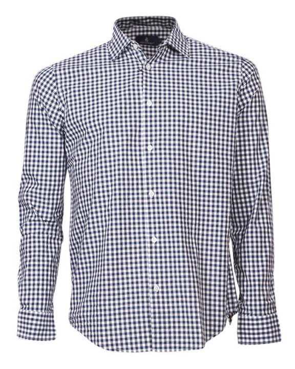 Cotton Formal Long Sleeves Shirt - White and Blue