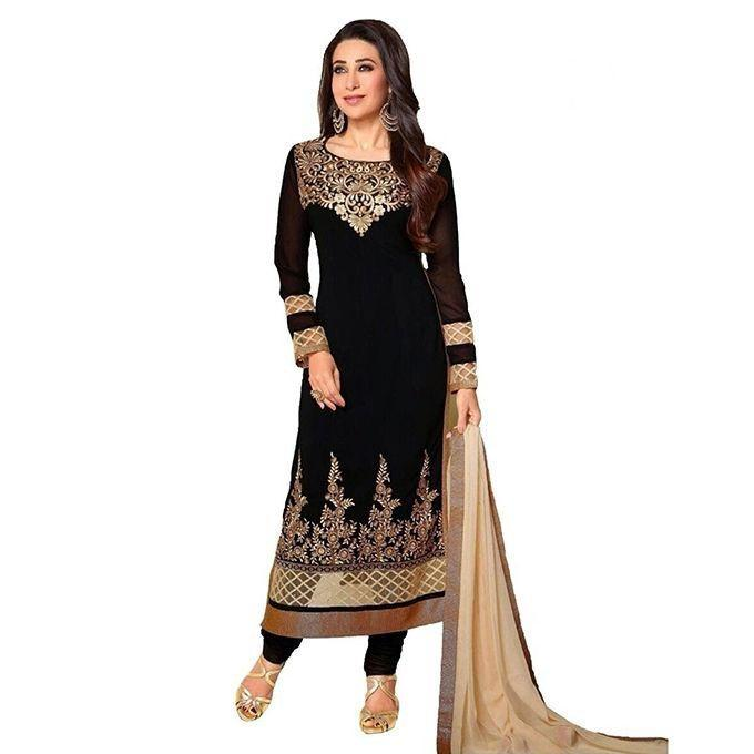 Black Cotton Un-stitched Block Printed Shalwar Kameez For Women