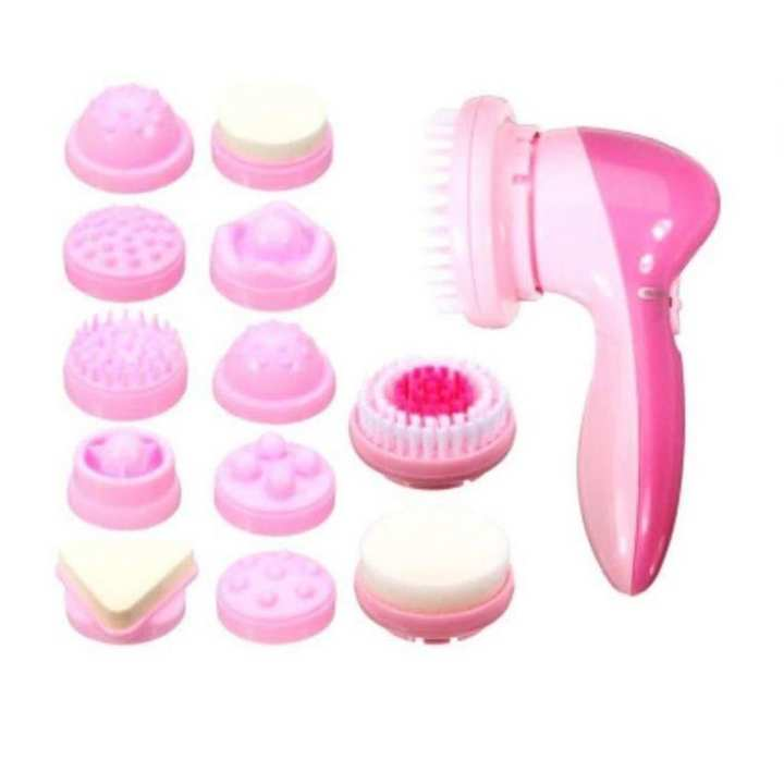 12 in 1 Multi-functional Face Massager - White and Pink