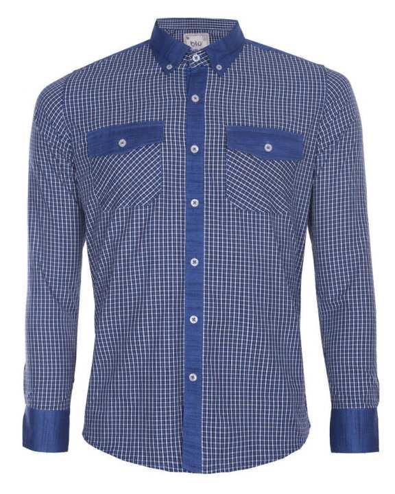 Linen Casual Long Sleeve Shirt - Navy