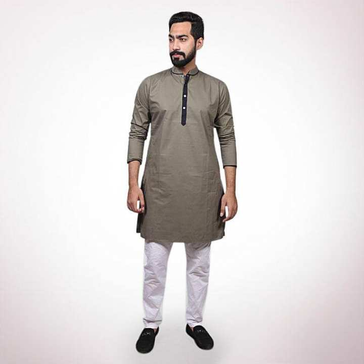 Olive  Cotton Casual Panjabi for Men