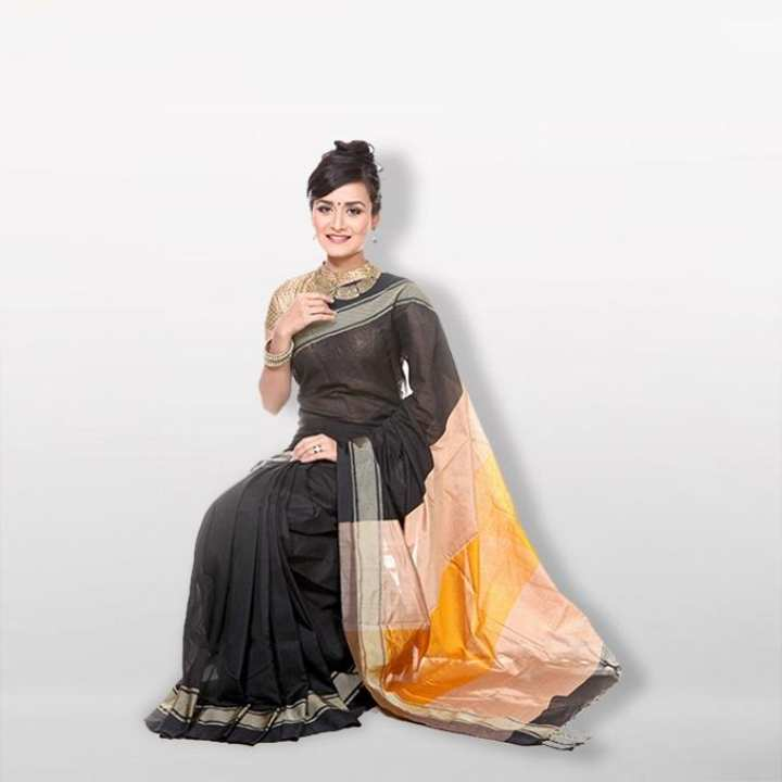 Black Cotton and Silk Saree for Women