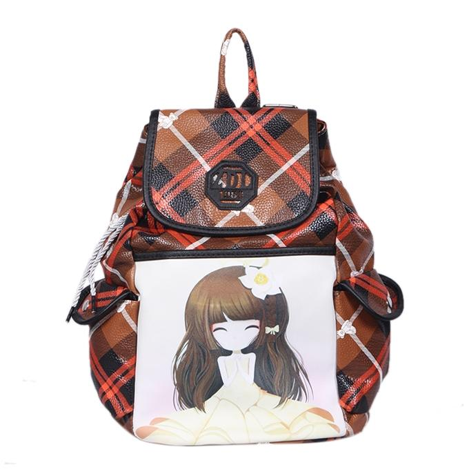 Chocolate Polyester Backpack For Girls