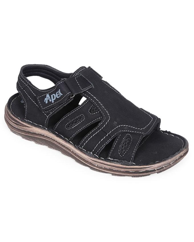 Black Smooth Leather Casual Sandal for Men