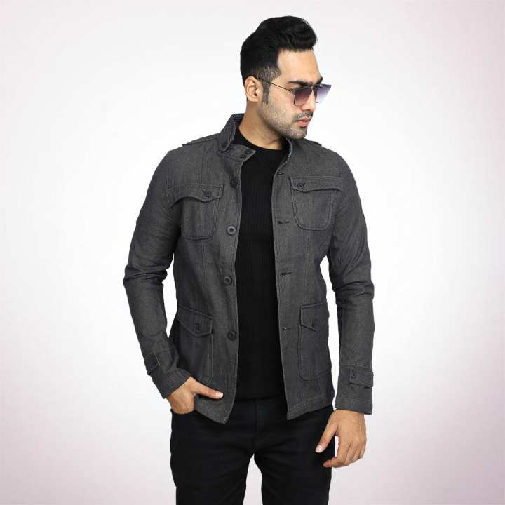 Ash Black Twill Casual Jacket For Men