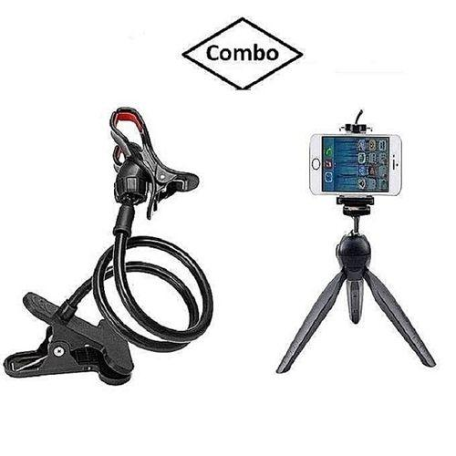 Pack of 2 -  Flexible Lazy Mobile Stand and Mini Tripod Holder Stand - Black